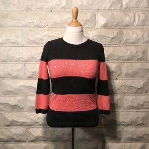 LOFT Pink/Gray Sequined Sweater